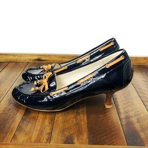 Stuart Weitzman Moxy Patent Leather Loafer Heels
